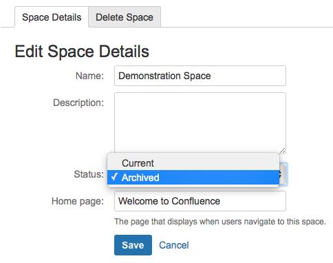 Confluence でスペース詳細を編集する